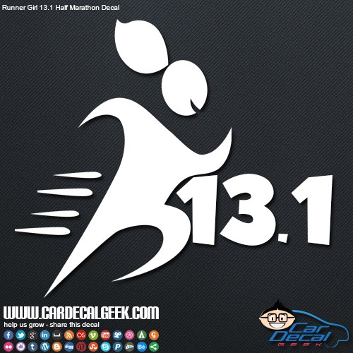 Half marathon runner girl 13 1 car window decal sticker for 13 1 window sticker