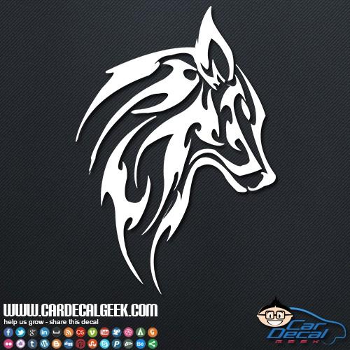 ... / Wildlife Decals & Stickers / Mammals / Tribal Wolf Head Car Decal