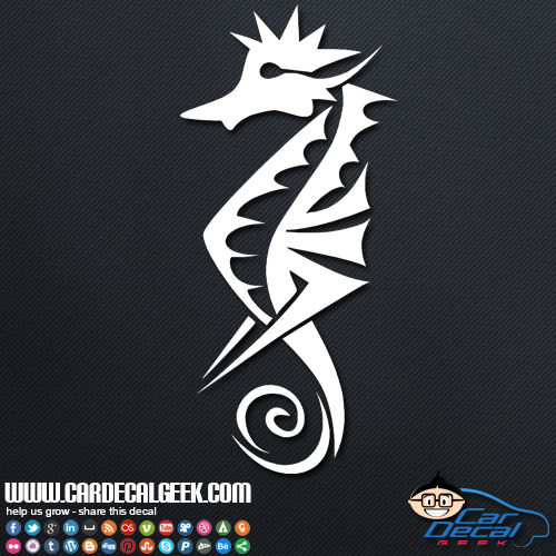 Awesome Tribal Seahorse Vinyl Car Window Decal Sticker