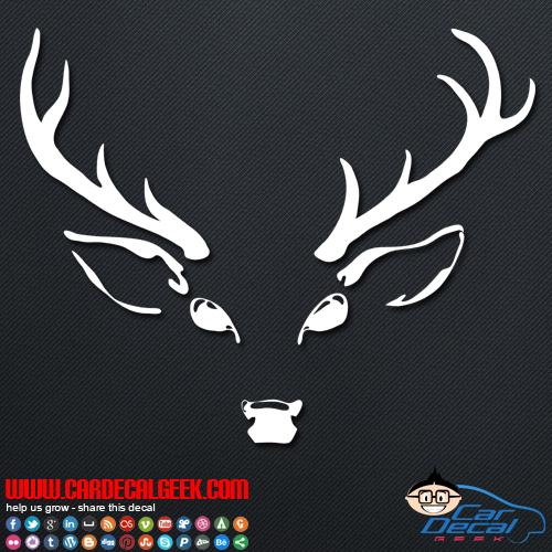 Deer head hunting vinyl decal window sticker hunting decals for Deer mural decal