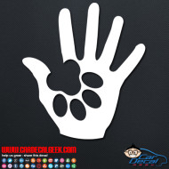 Dog Paw in Human Hand Decal Sticker