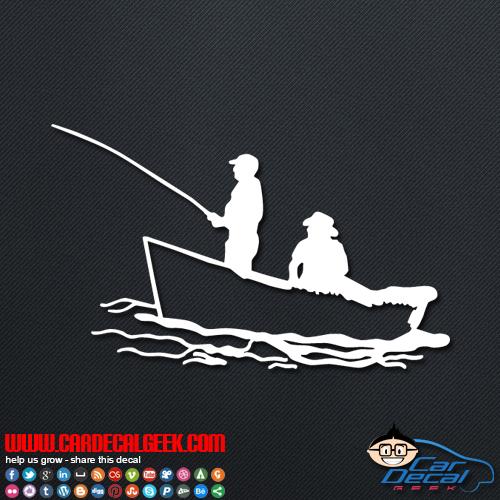 Fishing in a boat car window decal sticker fishing decals for Free fishing decals