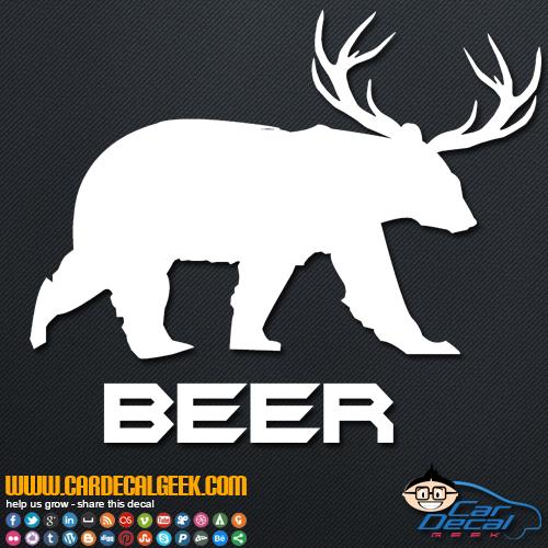 Beer Bear Deer Decal Sticker