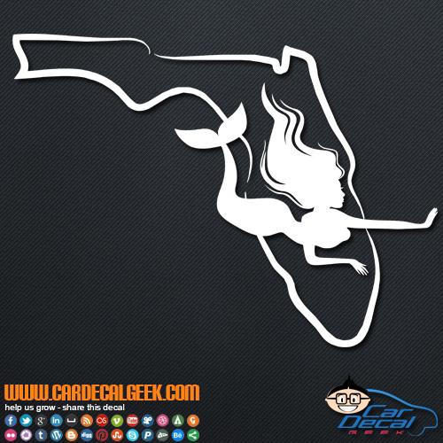 Florida Mermaid Vinyl Car Decal Sticker Graphic