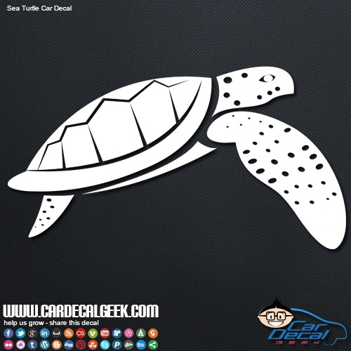 Swimming Sea Turtle Vinyl Car Decal