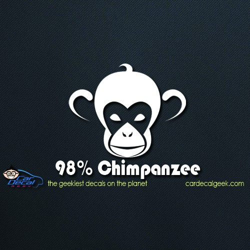 98% Chimpanzee Car Window Decal Sticker