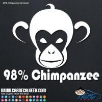 98% Chimpanzee Car Window Decal
