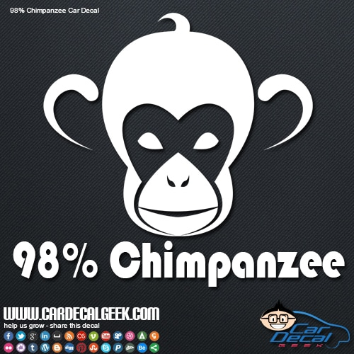 98% Chimpanzee Car Window Decal