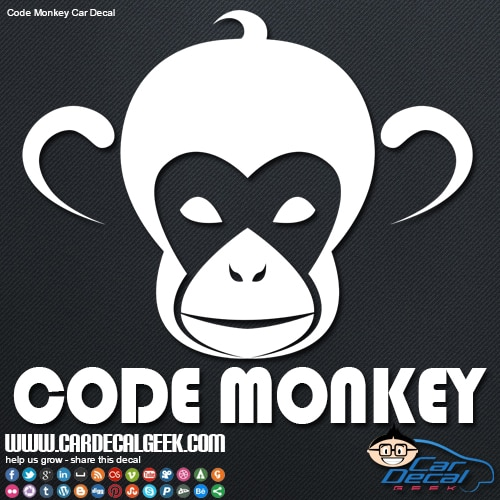Code Monkey Car Window Decal Sticker Graphic