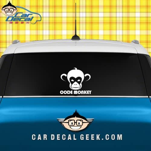 Code Monkey Car Window Decal Sticker Graphic
