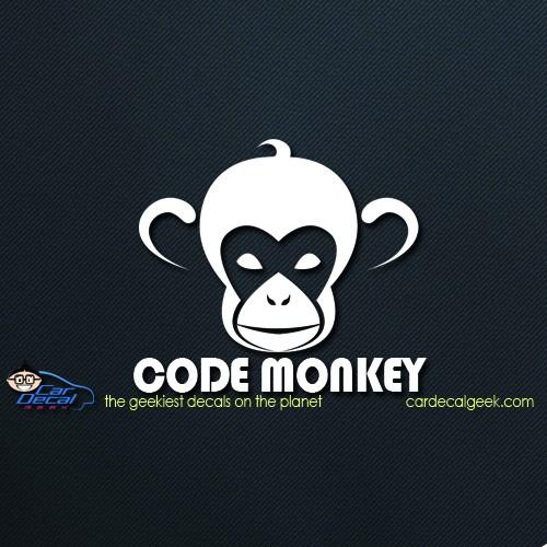 Code Monkey Car Window Decal Sticker