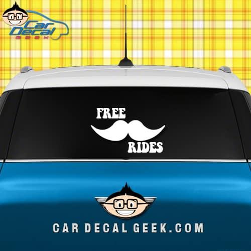 free mustache rides car sticker