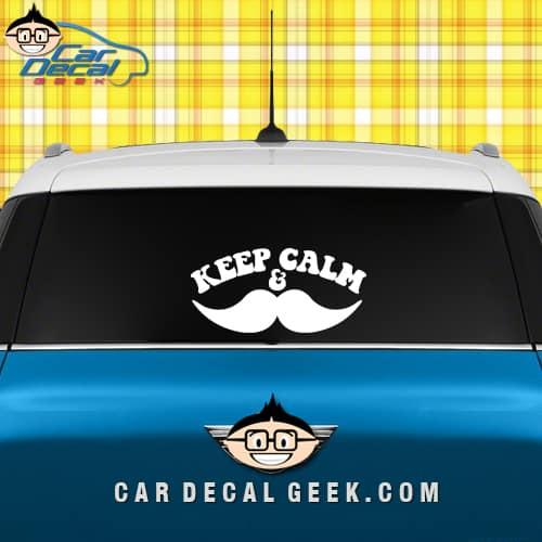 keep calm mustache car sticker