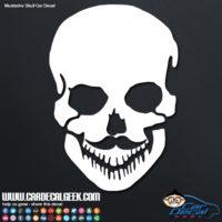 mustache skull vinyl car decal