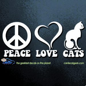 Peace, Love and Cats Car Decal