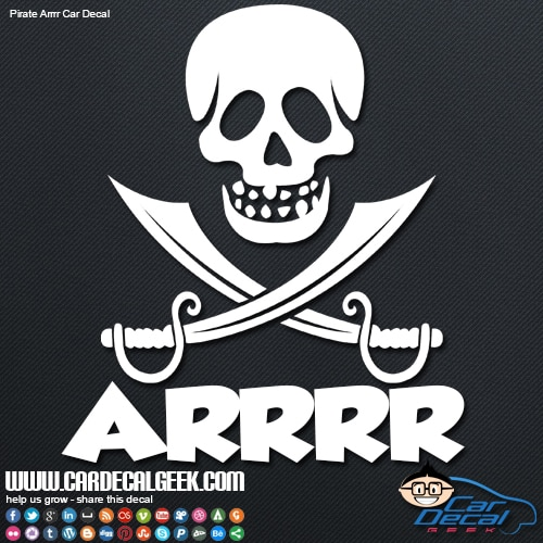 Pirate Arrrr Skull Swords Car Sticker