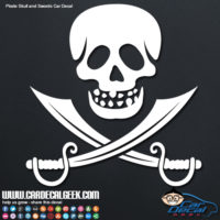 Pirate Skull and Swords Car Window Decal Sticker