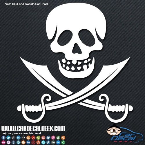 Naples Car Show >> Pirate Skull & Swords Car Decal Sticker | Window Stickers