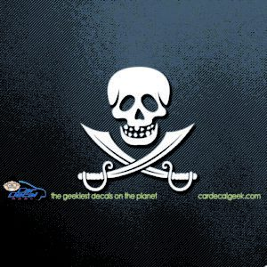 Pirate Skull and Swords Car Window Decal