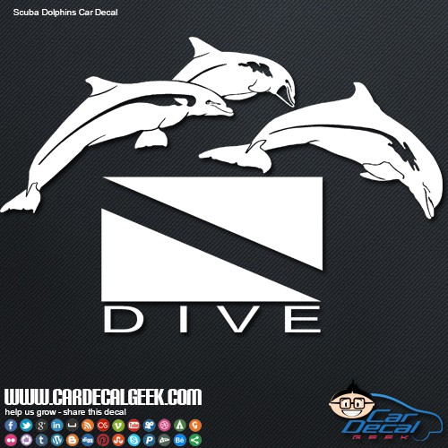 Scuba diving with jumping dolphins car decal