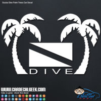 Scuba dive tropical palm trees car decal sticker