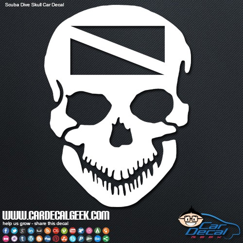 Scuba skull car decal sticker
