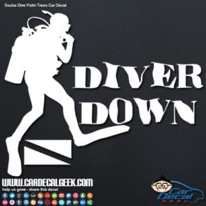Scuba diver down vinyl car decal sticker