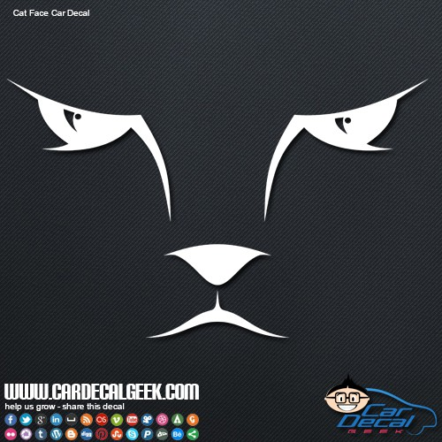Cat Kitty Face Car Window Decal Sticker