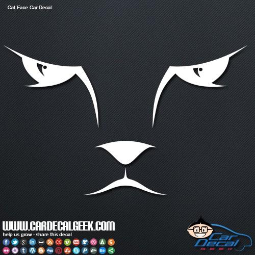 Cat Kitty Face Car Window Decal Sticker