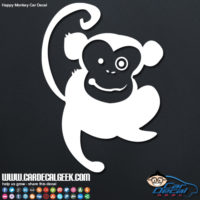 Cute Happy Monkey Car Window Decal Sticker Graphic