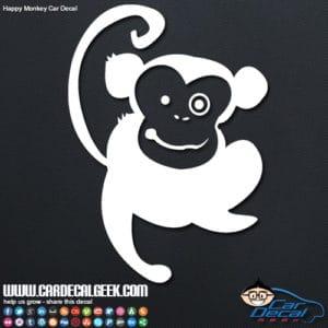 Cute Happy Monkey Car Window Decal Sticker Graphic