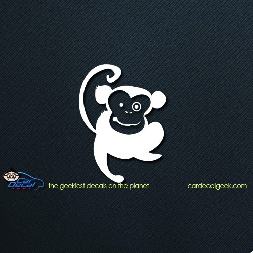 Cute Happy Monkey Car Window Decal Sticker