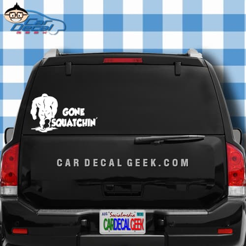 Sasquatch Bigfoot Gone SquatchingCar Window Decal Graphic