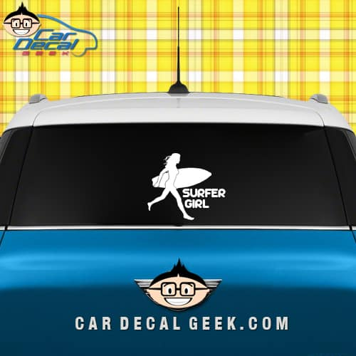 Surfer girl car window decal sticker graphic