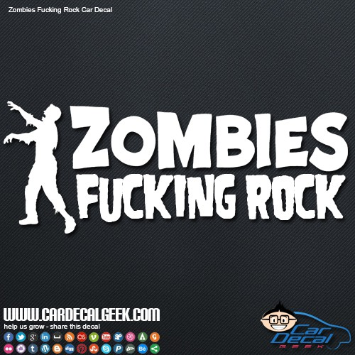 Zombies Fucking Rock Car Decal Sticker