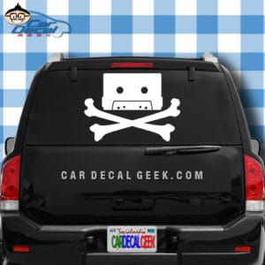 80s Cassette Tape Skull and Cross Bones Car Decal Sticker