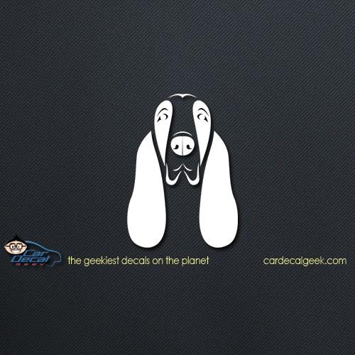 Adorable Basset Hound Face Car Decal