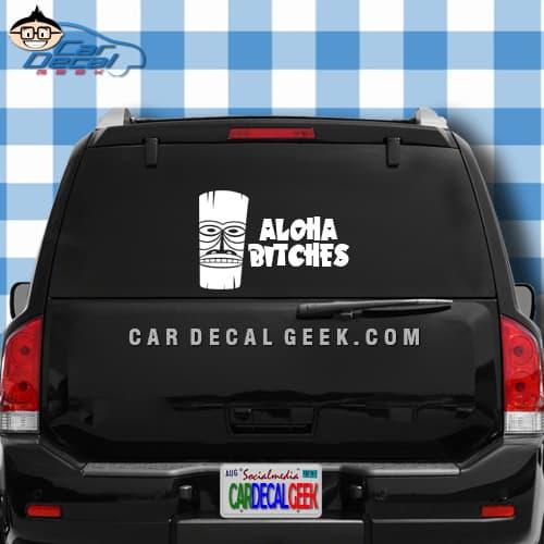 Aloha Bitches Hawaiian Tiki Car Window Decal Sticker