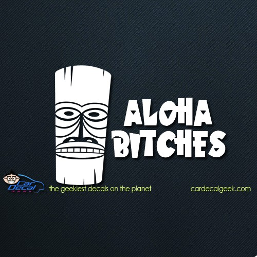 Aloha Bitches Hawaiian Tiki Car Decal