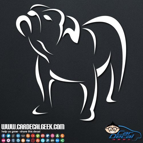 Bulldog Outline Car Sticker