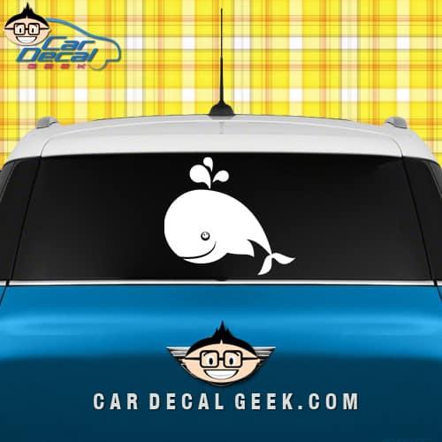 Cute Happy Whale Car Window Decal Sticker