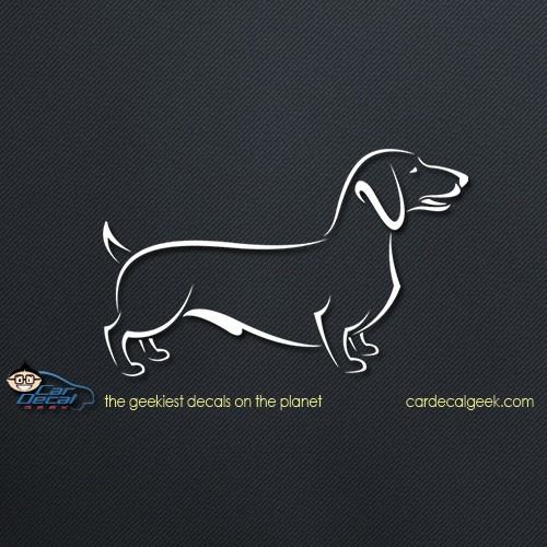 Cute Dachshund Dog Car Decal
