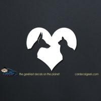 Cat & Dog Heart Lover Car Decal