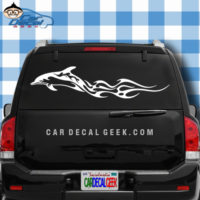 Flaming Dolphin Car Window Decal