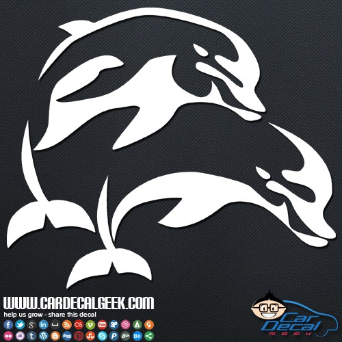 Two Jumping Dolphins Car Sticker