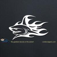 Flaming Shark Car Decal
