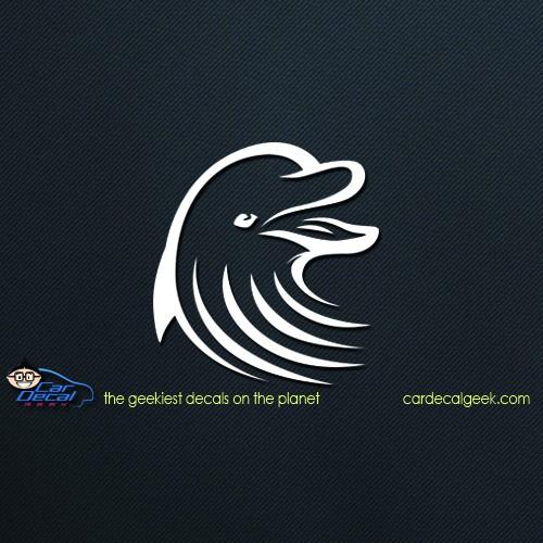 Tribal Dolphin Head Vinyl Car Window Decal Sticker