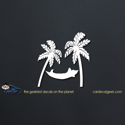 Tropical Hammock in Paradise Car Decal