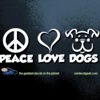 Peace Love Dogs Car Window Decal