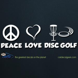 Peace Love Disc Golf Car Decal